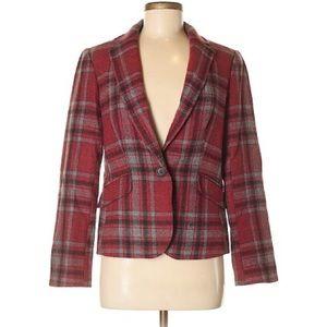 TALBOTS Rustic Red & Charcoal Plaid Wool Blazer